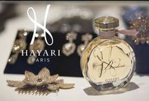 "Perfumes Collections / Nabil Hayari designs unique fragrances for elegant women and dandy men A trio for women ""Only for Her"", ""Goldy"" and ""Broderie"". A duo for men ""Only for Him"" and ""Le Paradis de l'Homme"". A Rose unisex trio ""Rose CHIC"", ""Amour ELEGANT"" and ""FeHOM"". HAYARI PARIS perfumes are made in Grasse, France in hand-numbered bottles, each one of a kind.   The bottle is an elegant presentation of a 12 sided flacon topped with a crystal stopper."