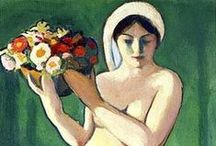 Woman with Flowers - Paintings