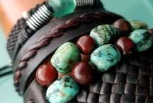 Gifts for Her / Leather fashion accessories and jewelry for her; statement necklaces and earrings, cuff bracelets, and clothing