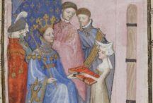 Christine de Pizan: Recueil des oeuvres. Tome II. / Le Livre du chemin de long estude », — Les « Enseignemens que je Christine donne à Jehan de Castel, mon fils » (fol. 42), — « L'Orayson Notre Dame » (fol. 45), — « Les quinze Joyes Nostre Dame » (fol. 47), « Le Dit de la pastoure » (fol. 48), — « Une Oroyson de Nostre Seigneur » (fol. 63), — « Le Duc des vrais amans » (fol. 65).
