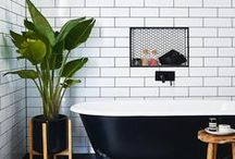 HOME - BATHROOM / Bathroom inspiration just the way we like it, squeaky clean, lush scented and full of soapy suds. Simple tile, copper tubs, brass hardware, clever storage and most importantly...relaxing.