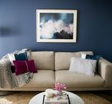 + STUDIO BLACK PROJECTS - LIVING ROOM MAKEOVER + / Living room makeover. This living room needed to be transformed from ordinary to extraordinary! With some new decor and accessories and a slick of moody blue paint, this room now reflects the stylish mama that lives there.Interior styling by Studio Black Interiors.