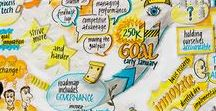 Graphic recordings / Large-scale live illustrations drawn while listening to content in real time, generally meetings, conference keynotes, etc.