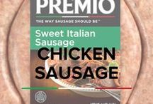 Chicken Sausage / Premio Italian chicken sausage has 60% less fat than USDA regulations for pork sausage, which means you can indulge without the guilt!  We make our chicken sausage with only fresh ingredients and skip the artificial flavors and added MSG that weighs down other sausages.