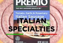 Italian Specialities / Have you ever wanted to kick the taste of an Italian sausage up a notch? You've come to the right place! At Premio, we've taken the sublime taste of Italian sausage and turned it into a specialty item with lots of different options that will satisfy whatever craving you have at the moment.
