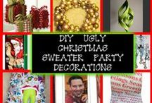 DIY Decorations for an Ugly Christmas Sweater Party / Decoration ideas for an ugly Christmas sweater party. Ideas  for festive and fun ways to decorate for a tacky sweater party at your home or office.  Find ugly Christmas sweaters at www.myuglychristmassweater.com
