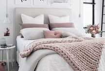 Bedroom inspo / Light and airy bedrooms. White, millennial pink, copper grey, bamboo, chunky knits. Inspiration for the bedrooms in my new home.