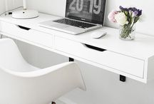 Office inspo / Inspiration for my home office in my new home. I'm thinking greys, clean lines, copper and minimalist feels. Features lots of Ikea.