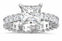Princess Engagement Rings / Princess cut diamonds and gemstones are square and incredibly brilliant. They are one of the most popular choices for an engagement ring because of their sophistication and beautiful sparkle.