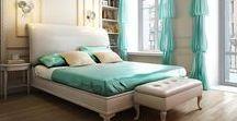 Schlafzimmer mit verschiedenen Strukturen und sanften Farbkontrasten / Das wichtigste Raum des Hauses - Schlafzimmer. Wir haben Ideen gesammelt mit verschiedenen Texturen und Farben.