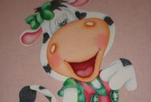 Pinturas de vaquinhas country / Pinturas com passo a passos no meu blog http://www.catiaartesmanuais.com/