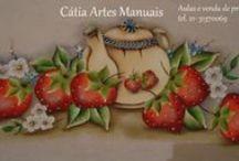 Pintura de Frutas e legumes / Pintura em tecido com passo a passo no meu site http://www.catiaartesmanuais.com/