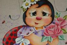Pinturas Country de Joaninhas / pintura em tecido