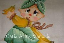 Pintura bonecas Frutinhas / pin tura em tecido de bonecas com roupas de frutas