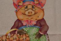 Pintura porquinhas e tartarugas country / Pintura em tecido de vários bichinhos em estilo country