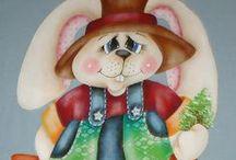 Pintura de Coelhos Country / pintura em tecido country