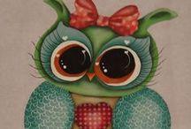 Pintura country Corujas / corujas pintadas em tecido