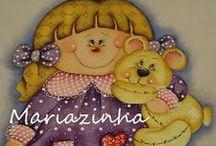 Pintura bonequinhas / bonecas pintadas no tecido