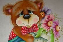 Pintura country ursas / pintura em tecido