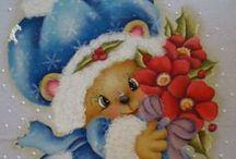Bichinhos country Natal / Pintura Natalina em estilo country