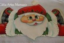 Papai Noel / Papai Noel pintado no pano de copa com patch