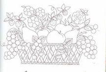 Riscos de frutas / riscos para pintar flores e frutas