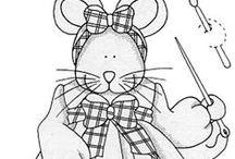 Riscos de ratinhos / riscos de ratinhas para pintar