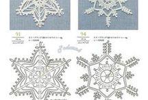 szydełko - gwiazdki, śnieżynki