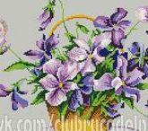 haft - kwiaty - fiołki