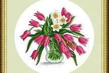 haft - kwiaty - tulipany