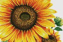 haft - kwiaty - słoneczniki