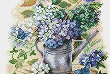 haft - kwiaty - hortensja