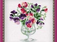 haft - kwiaty - groszek, powój