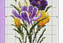 haft - kwiaty - krokusy, przebiśniegi
