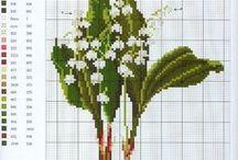 haft - kwiaty - konwalie, hiacynty