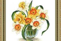 haft - kwiaty - żonkile, narcyzy