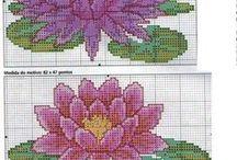 haft - kwiaty - lilie wodne