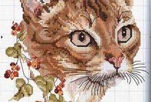 haft - zwierzęta - koty