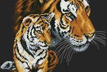 haft - zwierzęta - dzikie koty