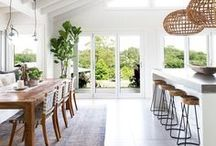 Home Decor | Kitchen Dining / Home decor and interiors inspiration for a white and wood open kitchen. White, natural, wooden, clean looks for a beautiful rustic, beachside home.