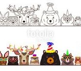 party animals clipart / パーティーの扮装をした動物たちのイラスト。 cute animals in party fashion, drawn by me.