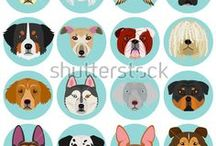 dogs clipart / 犬のイラスト集。ストックフォトサイトで販売中。 illustrations of dogs drawn by me.