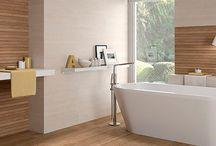 Baños / Diseño de baños en combinación con varios colores.