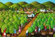 Folk Art / Naive Art / Naive Art, refers to works by artists who lack professional training. Naive artists create art with the same passion and intentions as trained artists, but work without formal knowledge of methods and training. Naive artists use bright strong colors, highly detailed images, and an absence of perspective (creating the illusion of forms and figures floating in space). Naive art represents memories, dreams, fantasies and scenes from every day life emphasising color and shapes.  / by Vered Gabay