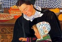 Ernest Bieler Art (Swiss, 1863-1948).  / Ernest Biéler was a multi-talented Swiss painter, draughtsman and printmaker. He lived in a remote village -Savièse and painted its residents.He worked in oil, tempera, watercolour, gouache, ink, charcoal, pastels, acrylic and pencil. He also created mosaics and stained glass windows. / by Vered Gabay