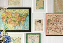 Mapping / A map gallery wall is one of the key elements within the design of our California Cottage.  I've been filing away inspiration here for maps of all kinds:  as art, in textiles, decoupaged onto furniture, etc.
