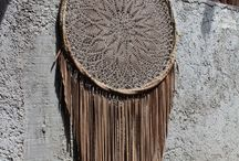 Dream catchers / Real suede leather and crochet dream catchers, made in Mexico
