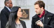 elementary // sherlock and watson / The TV show Elementary, starring Johnny Lee Miller and Lucy Liu.