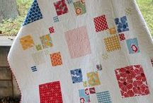 Pleasing Pieced Quilts:  Square Patterns / Squares and their close relatives rectangles, trapezoids  and diamonds. Many of these square patterns are achieved with a log cabin method, but the end result is a more-or-less square without the stepped effect of the log cabin method / by Elise Buhn