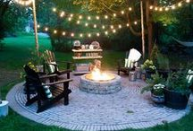 Garden Patio Ideas / Inspiration for a DIY outdoor garden patio space.  There are so many ideas for creating an extra outdoor living space!  Always excited for summer as we get to add another room to our home! Aren't porches the best! BBQ and parties with friends! Coffee in the morning! Wine in the evening! Cigars at night!  I'm in love with ferns this year!!  So lush!